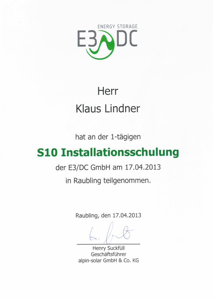 Installationsschulung E3DC S10
